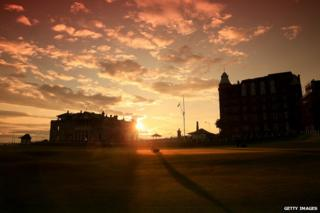 Sunrise on the Old Course at St Andrews venue for The Open Championship