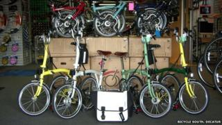 Brompton bikes on sale at a store in Georgia