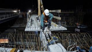 Construction worker, A5, near Darmstadt