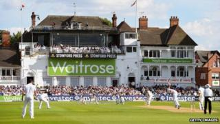 Waitrose banner at cricket match
