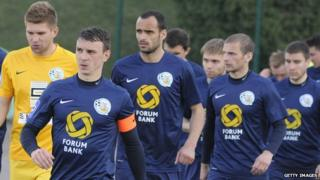 FC Sevastopol players before a Ukraine championship match against FC Carpaty in Lviv on 29 March 2014