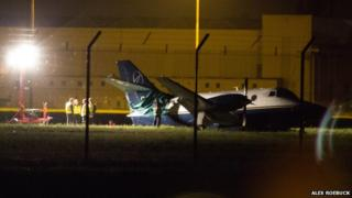 Plane by runway at Robin Hood Airport, Doncaster