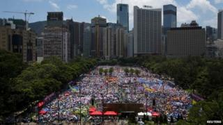 Thousands attended Sunday's pro-Beijing rally in Hong Kong