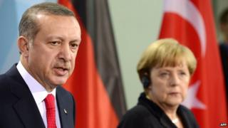 Recep Tayyip Erdogan and Angela Merkel at addressing a press conference after meeting for talks at the chancellery in Berlin