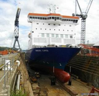 Commodore Clipper in dry dock in Falmouth