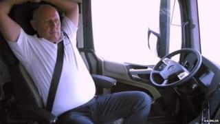 Man in autonomous lorry