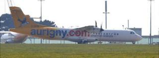 Aurigny ATR taxiing at Guernsey Airport