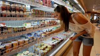 Shopper in St Petersburg supermarket