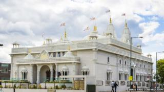 The exterior of the Shree Swaminarayan Siddhant Sajivan Mandal Temple in Kingsbury