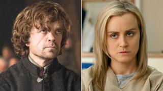 Peter Dinklage in Game of Thrones and Taylor Schilling in Orange is the New Black