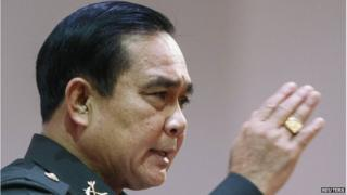 "Thai Army chief General Prayuth Chan-ocha speaks during an event titled ""The Roadmap for Thailand Reform"" at The Army Club in Bangkok, 9 August, 2014"