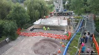 New road bridge positioned over the River Frome in Frampton Cotterell