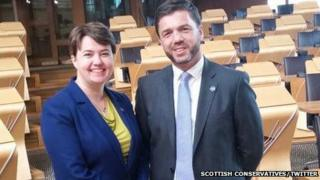 Ruth Davidson MSP, Scottish Conservative leader, welcomes Stephen Crabb to Holyrood