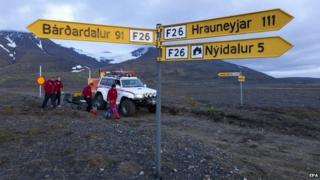Local authorities on patrol in the area close to area hit by recent powerful earthquakes in Iceland - 24 August 2014