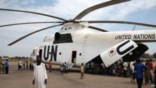 UN helicopter in South Sudan (file photo)