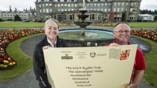Antonia Beggs from Ryder Cup Europe and David Bayne from Royal Mail