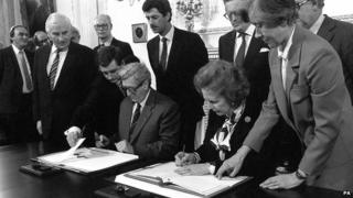 Margaret Thatcher and Dr Garret Fitzgerald signed the Anglo Irish Agreement which gave Ireland a say in the affairs of Northern Ireland on 15 November 1985 at Hillsborough Castle, County Down.
