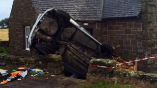 Crash scene near Stonehaven