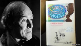 Roald Dahl and a first edition of Charlie and the Chocolate Factory