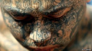"""One of two hundred members of """"Mara 18"""" arrested in Soyapango, El Salvador July 12 2006"""