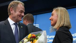 Poland's Prime Minister Donald Tusk and Italy's Foreign Minister Federica Mogherini at joint news conference, 30 Aug 14
