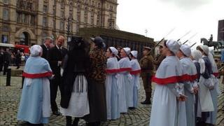 Prince Edward, Earl of Wessex inspects volunteer soldiers and nurses