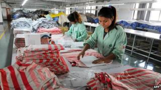Workers in a clothing factory in China's Anhui province