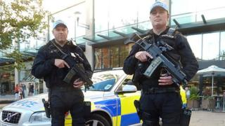 Armed police in Cardiff
