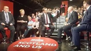 L-R: Craig Johnston, RMT Union; Christine Grahame , SNP MSP; John Stevenson, Conservative MP for Carlisle and Phil Wilson, Labour MP for Sedgefield