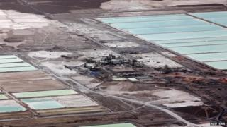 An aerial view of an SQM-owned lithium mine on the Atacama salt flat in a photo from 10 January 2013