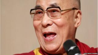 The Dalai Lama speaking at an event in Hamburg, Germany, on 23 August 2014