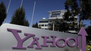 Yahoo sign outside HQ