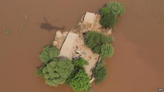 Aerial view of flood-affected residents in the compound of their home- Pakistan 12 September