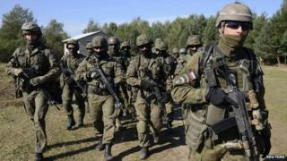 Polish soldiers during joint military exercises in Ukraine - 19 September 2014