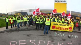 Amazon workers striking in Germany