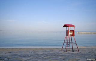 Empty lifeguard's chair on a Japanese beach