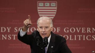"Vice President Joe Biden speaks to students faculty and staff at Harvard University""s Kennedy School of Government in Cambridge, Mass. on 2 October 2014"