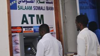 Cash withdrawal machine in Mogadishu, Somalia (7 October 2014)