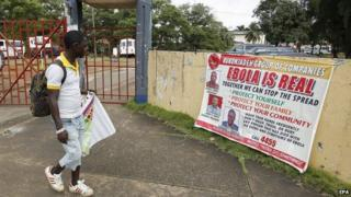 Ebola information poster in Monrovia, Liberia - 16 October
