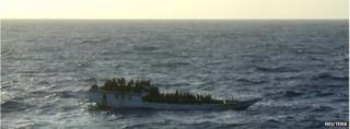 Boat of asylum seekers off Christmas Island (June 2012)