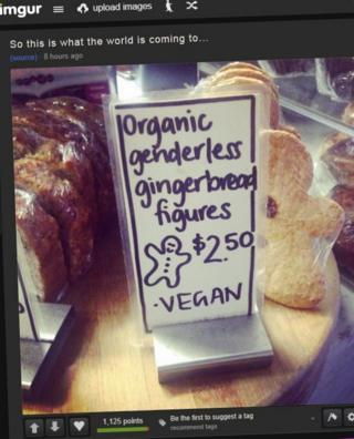 A gingerbread figure, labelled as genderless and vegan