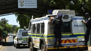 Police van believed to be carrying Oscar Pistorius arrives at Pretoria prison - 21 October