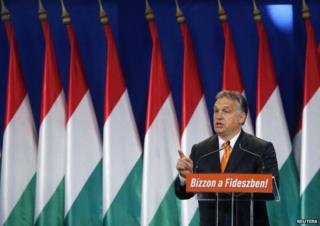 Hungarian PM Viktor Orban giving a speech in Budapest (19 Oct)
