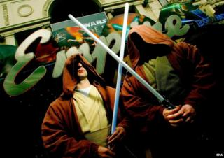 Star Wars fans dressed as Jedi warriors