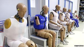 Crash-test dummies at Takata's current crash-testing facility in Michigan (2010)