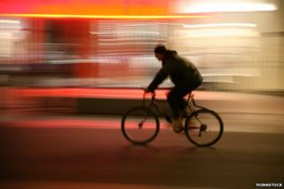 Cyclist in silhouette
