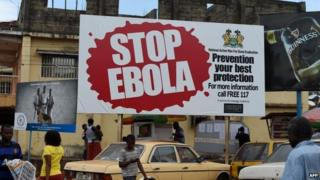 A billboard with a message about Ebola in Freetown, Liberia (8 November 2014)