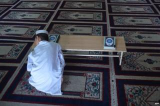 A boy at the Red Mosque
