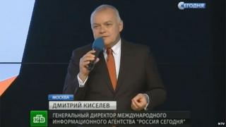 Russian NTV screengrab of Dmitry Kiselev at the launch of Sputnik
