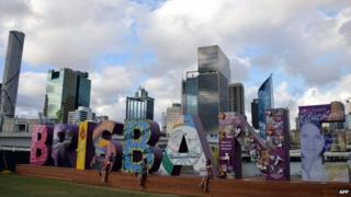 A Brisbane sign is displayed along the Brisbane River bank on 13 November 2014, ahead of the G20 Summit